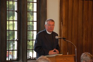 Dr. Dale A. Meyer, president of Concordia Seminary, speaks to the crowd at lunch as part of the celebration for the 175th anniversary of the Seminary.