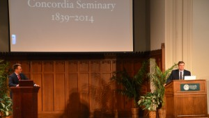 """Dr. Erik Herrmann and Dr. Gerhard Bode present their lecture, """"The True Light Shines: Concordia Seminary 1839-2014,"""" as part of the 175th anniversary celebration. Click to download full size."""