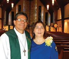Ligia Isabel Morales Cameros and her  husband, Rev. Adolfo Borges, at Prince of Peace Lutheran Church, Orlando, Fla.