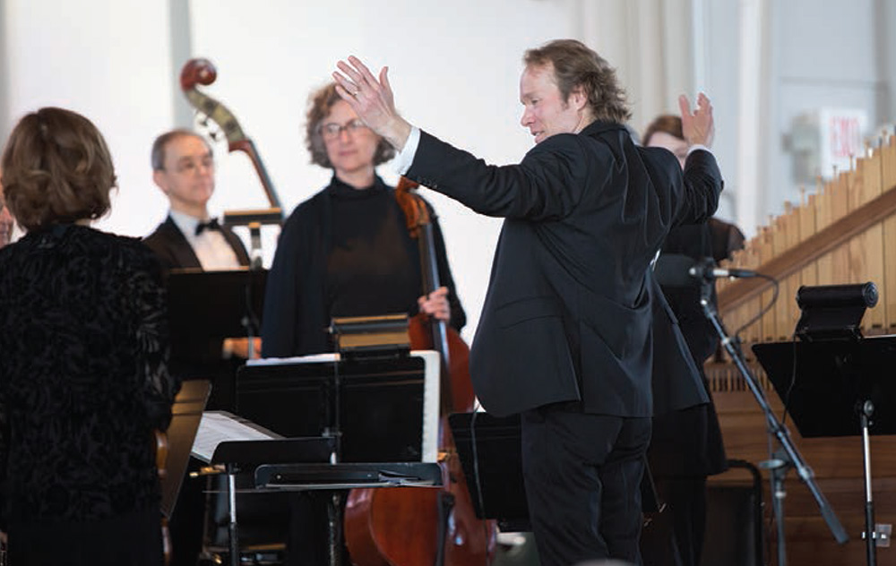 Dr. Maurice Boyer conducts the American Kantorei at the March 15, 2015 Bach at the Sem concert.
