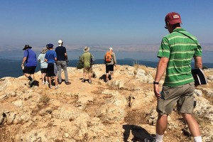 Concordia Seminary students stand atop Mount Arbel, overlooking the Sea of Galilee, taking in the view of area where much of Jesus' ministry took place. Photo: Robert Bailey
