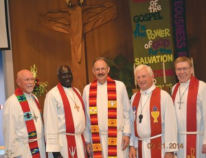 Associate Pastor Rev. Matthew Both, second from left, is part of a legacy of strong leadership at King of Kings Lutheran Church in Renton, Wash. He is pictured here with a group of current and past pastors of the church, Sept. 21, 2014. Photo: King of Kings Lutheran Church