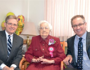 From left, Seminary Senior Gift Officer Richard Jostes, Mildred Nienaber and Tom Rehkop, executive director, Seminary Support.