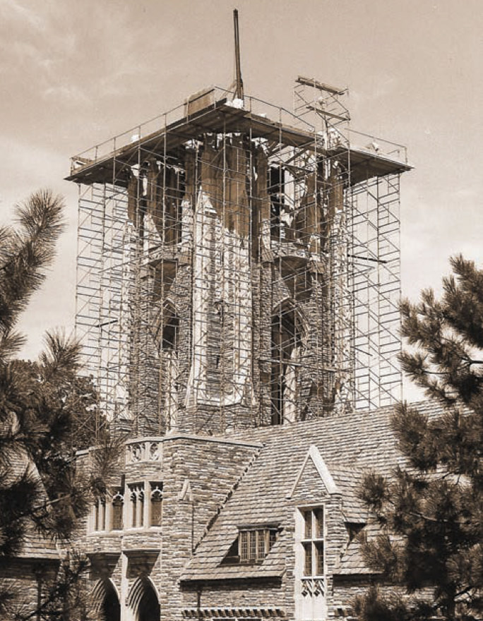 Concordia Seminary's Luther Tower construction, 1966