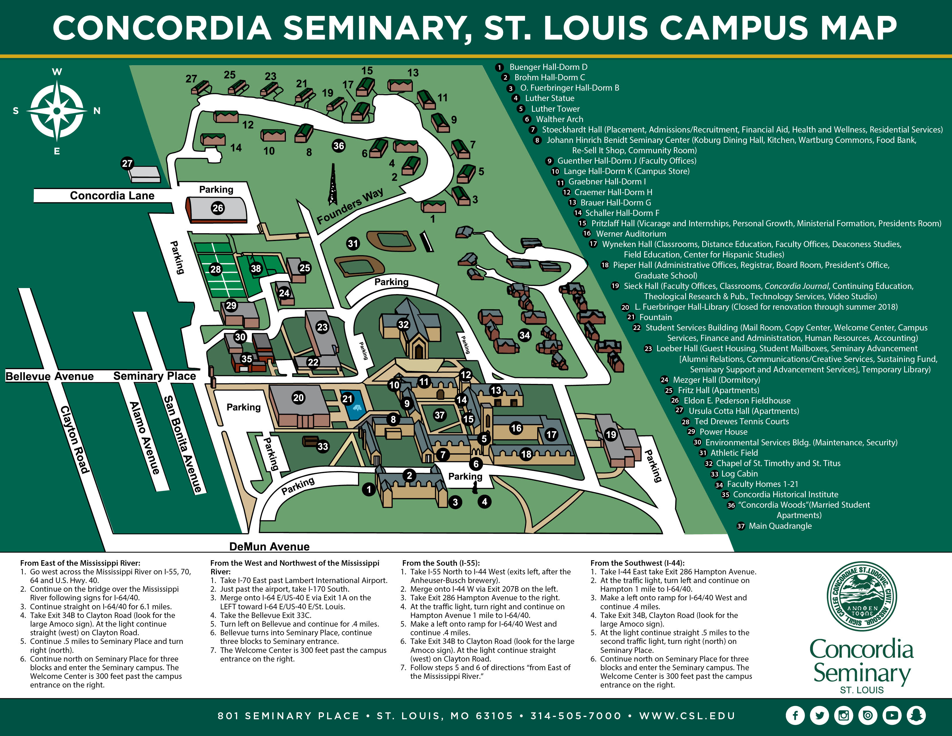 Campus Map Hours Concordia Seminary St Louis - Us campus map