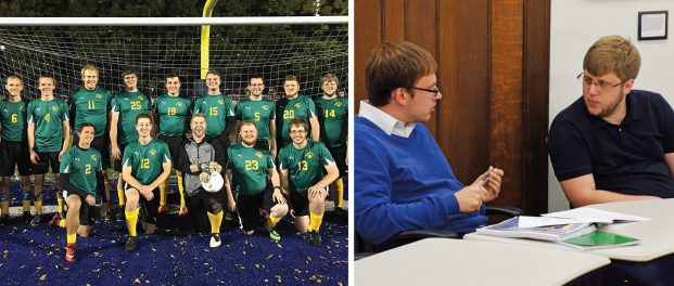 Left: When he's not in class, Niklas Brandt, front row far right, enjoys playing soccer on the Seminary's team. Photo: Courtesy Niklas Brandt. Right: Exchange students Niklas Brandt, left, and Gabriel Schmidt Sonntag discuss topics covered in Homiletics II, a class taught by Dr. David Schmitt, the Gregg H. Benidt Memorial Professor of Homiletics and Literature. Photo: Jackie Parker