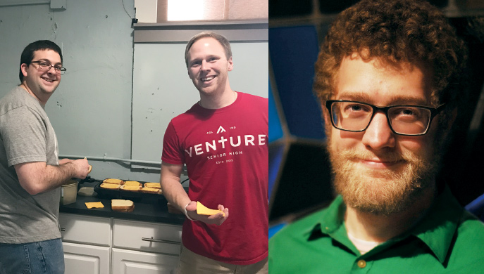 Left photo: From left, Vicar Bill Grueninger and Aaron Littmann, director of youth ministry, at St. Peter's Lutheran Church in Columbus, Ind., prepare grilled cheese sandwiches for high school students Feb. 23, 2017. Photo: Jane Littmann. Right photo: Seminarian Trevor Freudenburg is serving his vicarage at Bethlehem Lutheran Church in Lakewood, Colo. Photo: Emily King